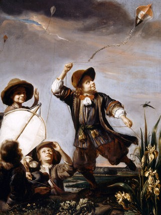 BOYS FLYING KITES attributed to Godfried Schalcken (1643-1706) from Upton House