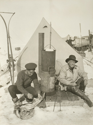 Sir Ernest Shackleton and Frank Hurley at Patience Camp