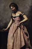 Corot / Young woman in pink dress