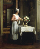 F.Bail, A Maid Watering Flowers.