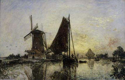 J.B.Jongkind / Ships near a mill / 1868