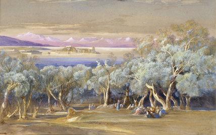 E.Lear, Corfu from Vonista, 1856