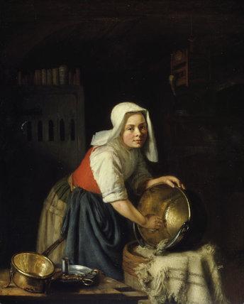 G.Metsu, Interior with Maid.