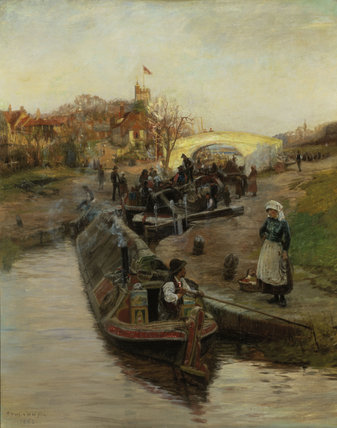 C.W.Wyllie / Barges at a lock / 1888