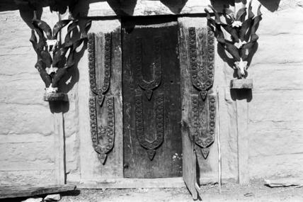 Doorway decorated with markhor horns