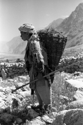 Tajik boy carrying a basket