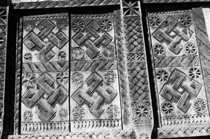 Carved wooden house decoration