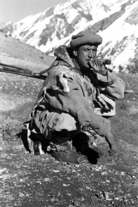 Hunter smoking a pipe