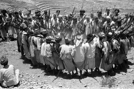 Men performing a war dance