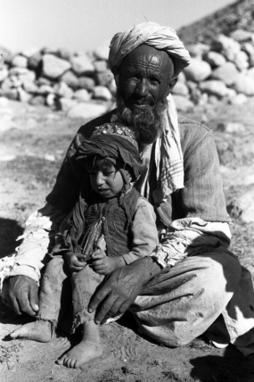 Elderly man and child