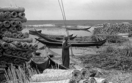 Reed mats and boats at Qubba