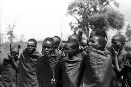 Samburu initiates chanting the lebarta