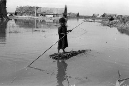 Suaid boy poling a raft