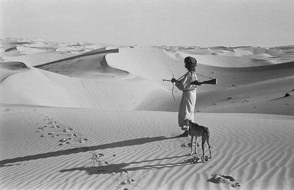 Salim bin Ghabaisha with a hunting dog