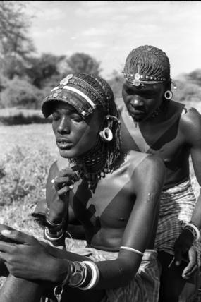 Samburu moran being decorated