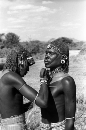 Samburu moran being decorated