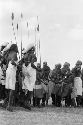 Samburu men and women dancing