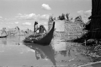 Boat at a settlement in the Marshes