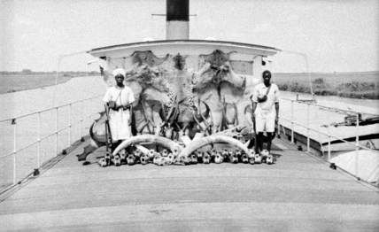 Idris Daud and Malo with hunting trophies