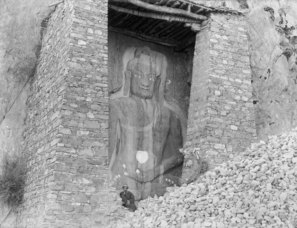 Buddha figure carved into a rock near Lhasa