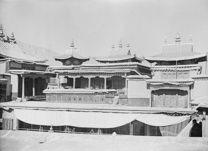 Roof of Potala showing tombs of Dalai Lamas