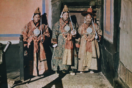 Officials wearing ringyen dress at New Year
