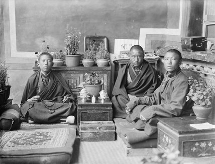 Tsendron Kusho's brother with two monks