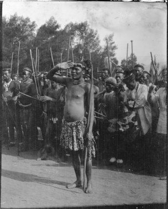 Zulu chief Laduma saluting