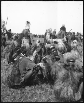 Seated dancers at a Zulu wedding ceremony
