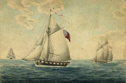 Painting of three ships
