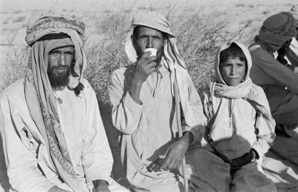 Seated portrait of three Manasir ...