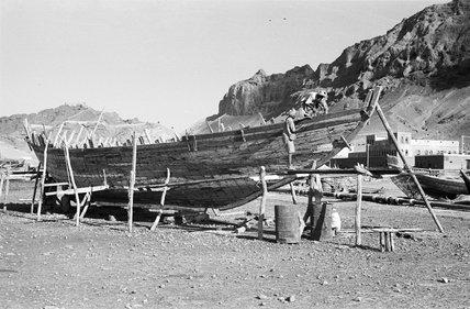 View of a beached sambuk ...