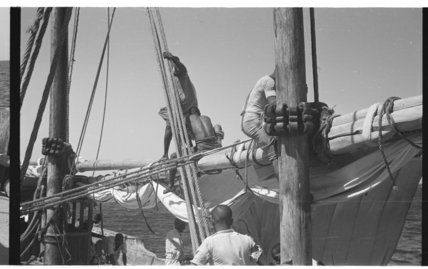 View of three sailors on ...