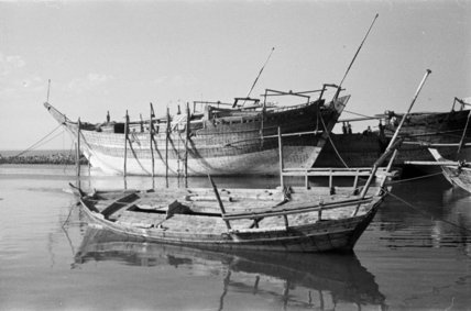 View of dhows (sailboats) resting ...