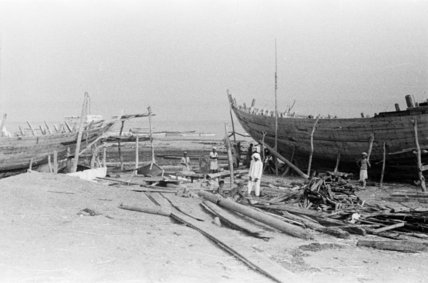 View of dhows (sailboats) being ...