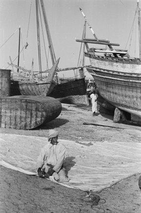 Portrait of a sailor mending ...