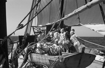 View of sailors hoisting the ...