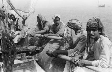 Portrait of sailors rowing a ...