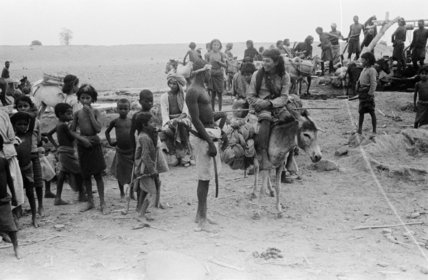 View of people collecting water ...