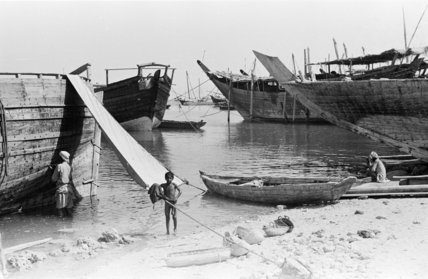 View of beached and moored ...