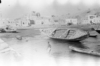 The waterfront at Jizan. Boats ...