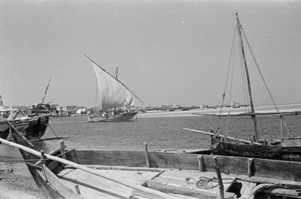 View of beached dhows (sailboats) ...