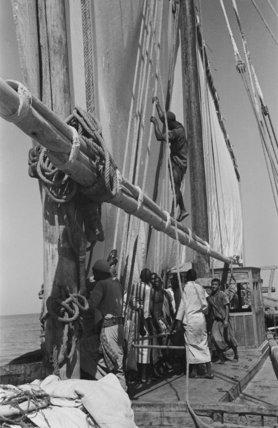 View of sailors hoisting sails ...