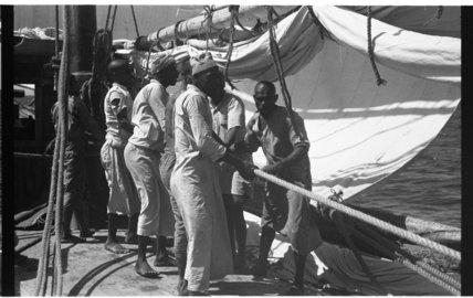 View of sailors preparing to ...