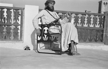 Seated portrait of Wilfred Thesiger ...
