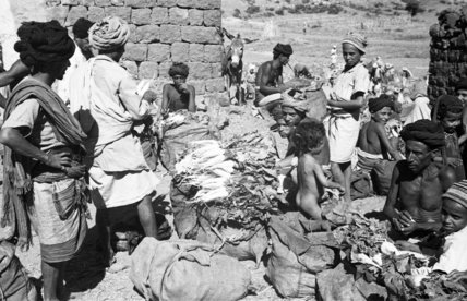 View of vegetable traders at ...