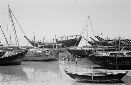 View of small dhows (sailboats) ...
