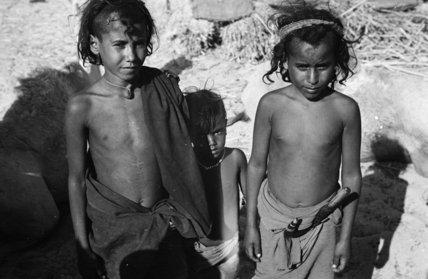 Portrait of three young Bedouin ...