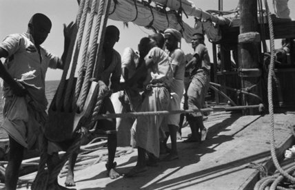 Group portrait of sailors hoisting ...