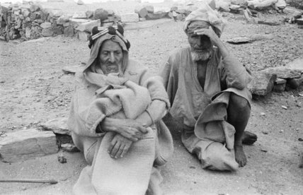 Seated portrait of two elderly ...